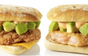 New McDonald's shrimp burger, right, rolling out in Japan at the end of May